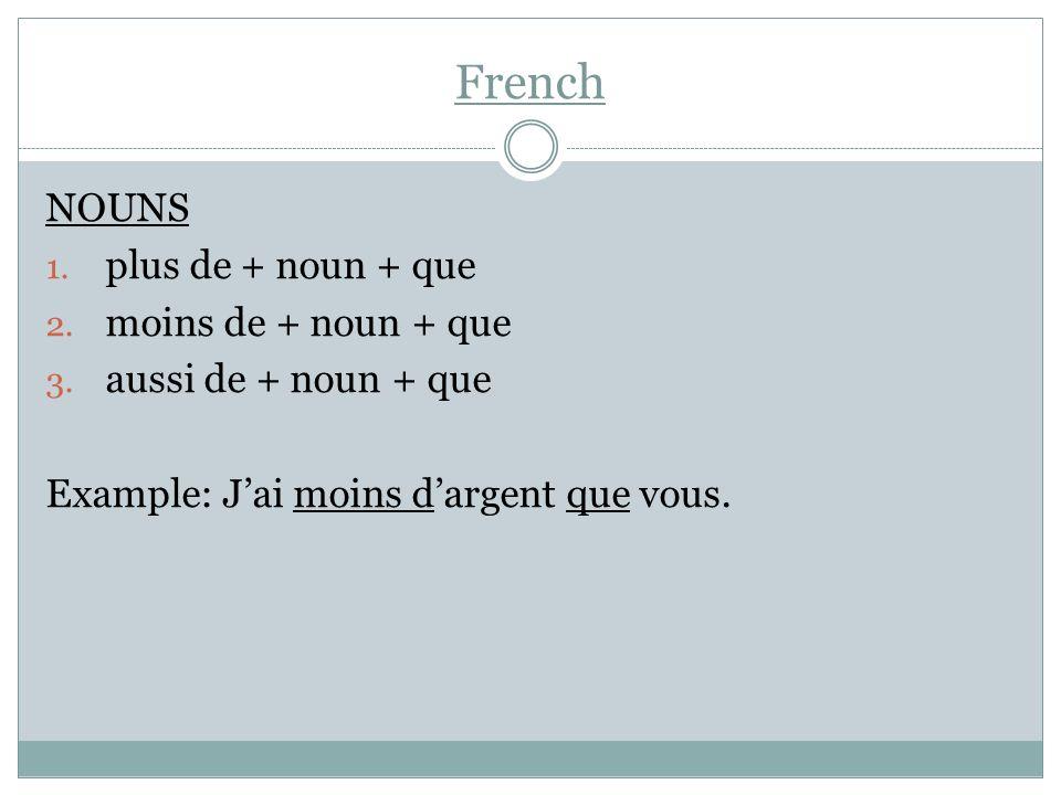 French NOUNS 1. plus de + noun + que 2. moins de + noun + que 3. aussi de + noun + que Example: Jai moins dargent que vous.