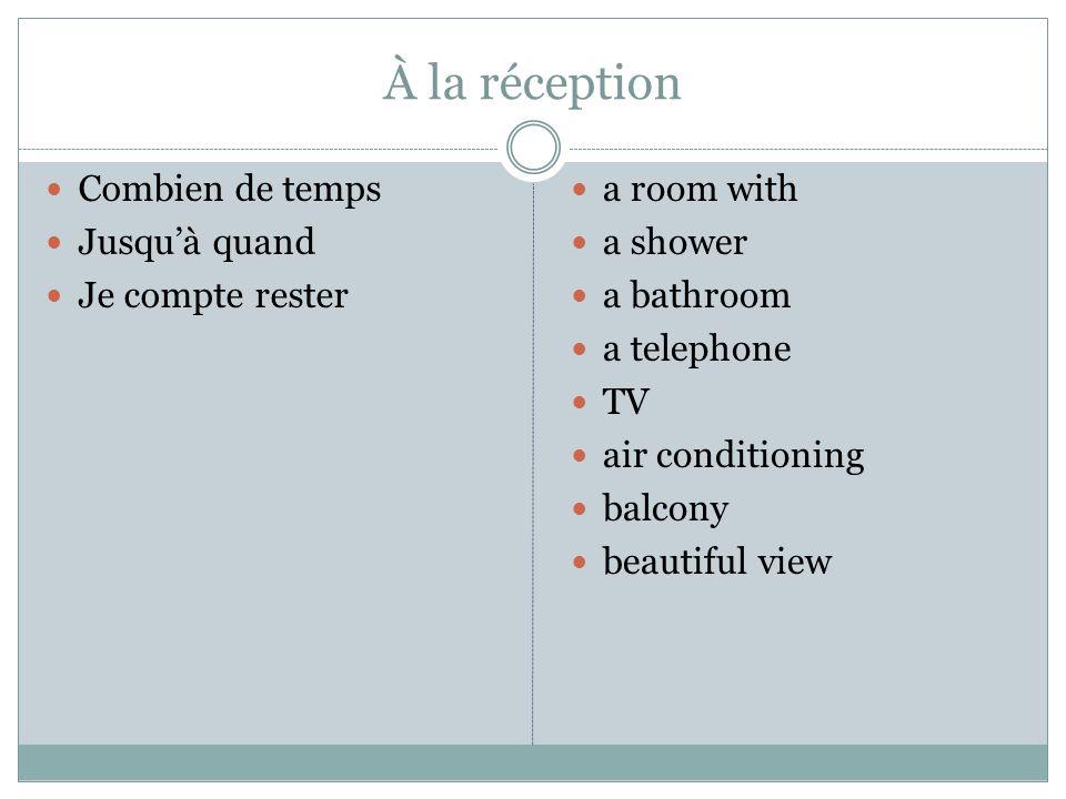 À la réception Combien de temps Jusquà quand Je compte rester a room with a shower a bathroom a telephone TV air conditioning balcony beautiful view