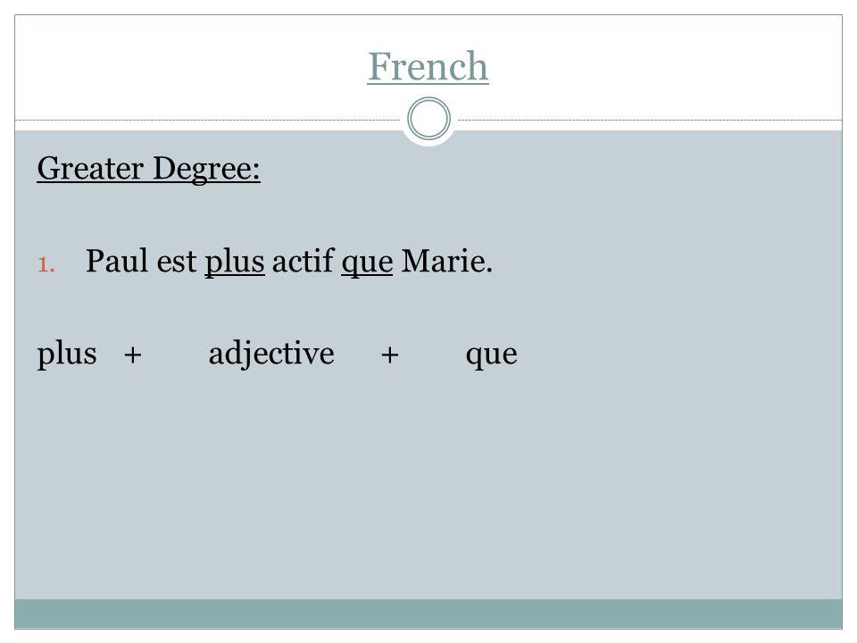 French Lesser Degree: Marie est moins active que Paul. moins+adjective+que