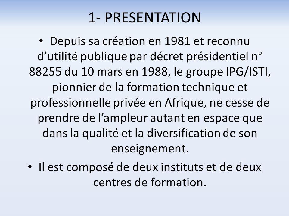 1- PRESENTATION Depuis sa création en 1981 et reconnu dutilité publique par décret présidentiel n° 88255 du 10 mars en 1988, le groupe IPG/ISTI, pionn