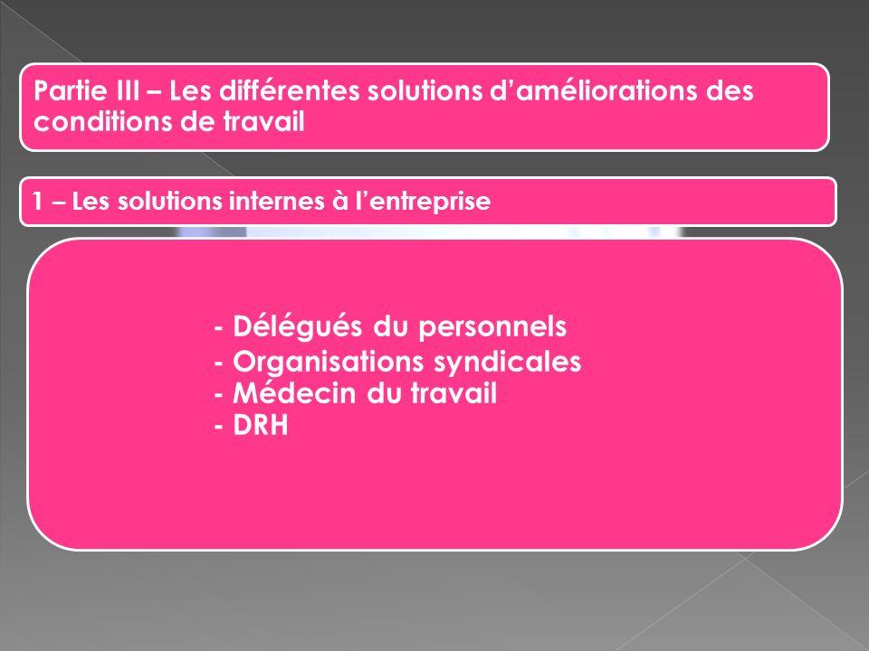 Partie III – Les différentes solutions daméliorations des conditions de travail 1 – Les solutions internes à lentreprise - Délégués du personnels - Or