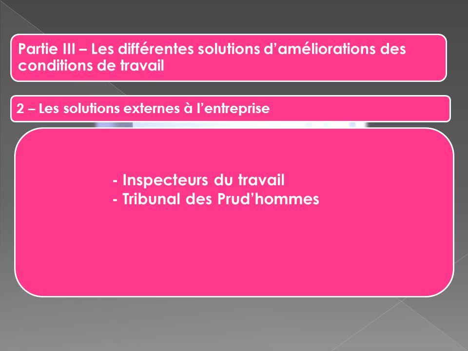 Partie III – Les différentes solutions daméliorations des conditions de travail 2 – Les solutions externes à lentreprise - Inspecteurs du travail - Tr
