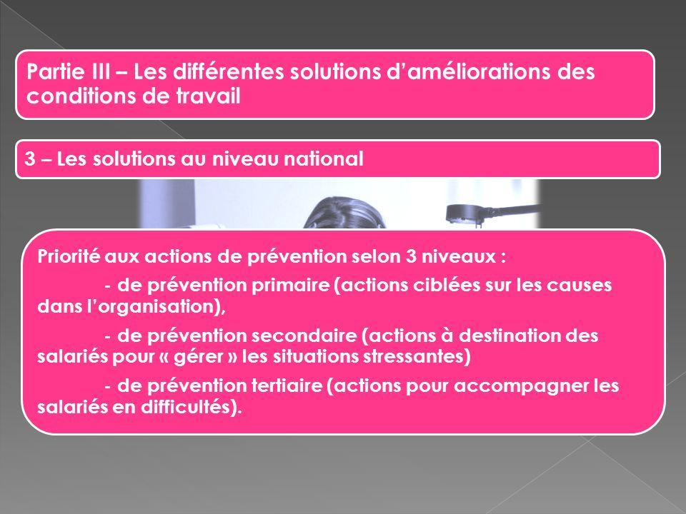 Partie III – Les différentes solutions daméliorations des conditions de travail 3 – Les solutions au niveau national Priorité aux actions de préventio