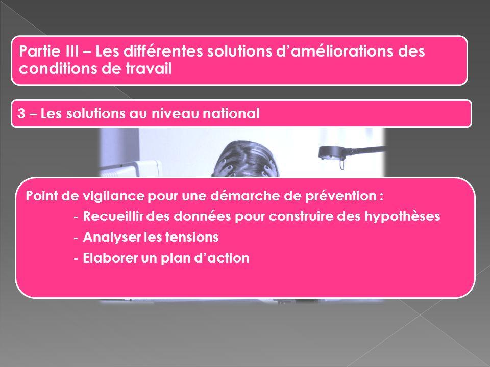 Partie III – Les différentes solutions daméliorations des conditions de travail 3 – Les solutions au niveau national Point de vigilance pour une démar