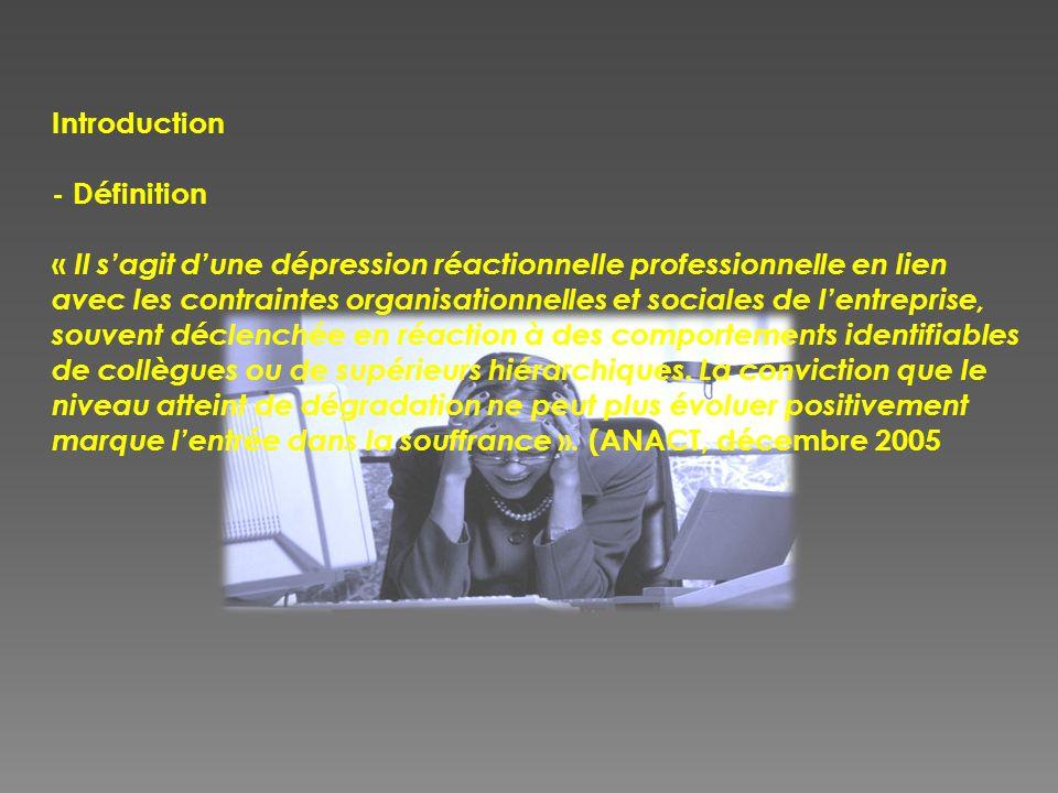 Introduction - Définition « Il sagit dune dépression réactionnelle professionnelle en lien avec les contraintes organisationnelles et sociales de lent
