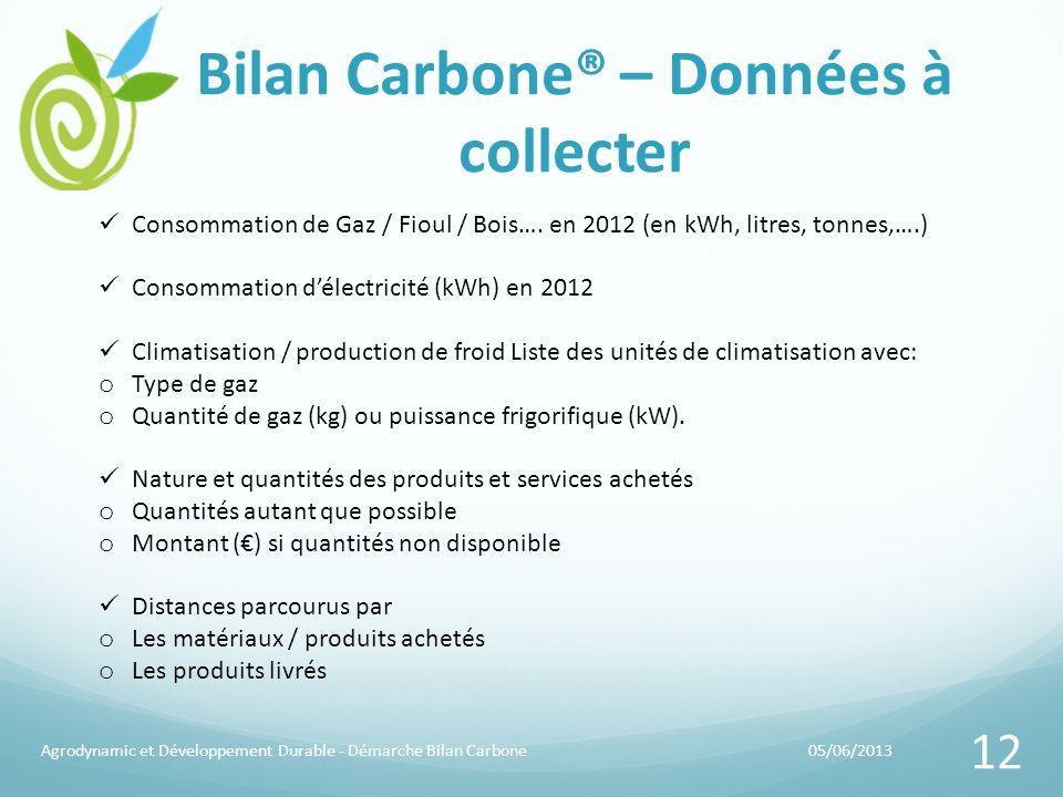 Bilan Carbone® – Données à collecter 05/06/2013Agrodynamic et Développement Durable - Démarche Bilan Carbone 12 Consommation de Gaz / Fioul / Bois…. e