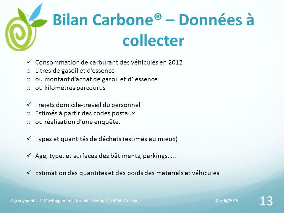 Bilan Carbone® – Données à collecter 05/06/2013Agrodynamic et Développement Durable - Démarche Bilan Carbone 13 Consommation de carburant des véhicule