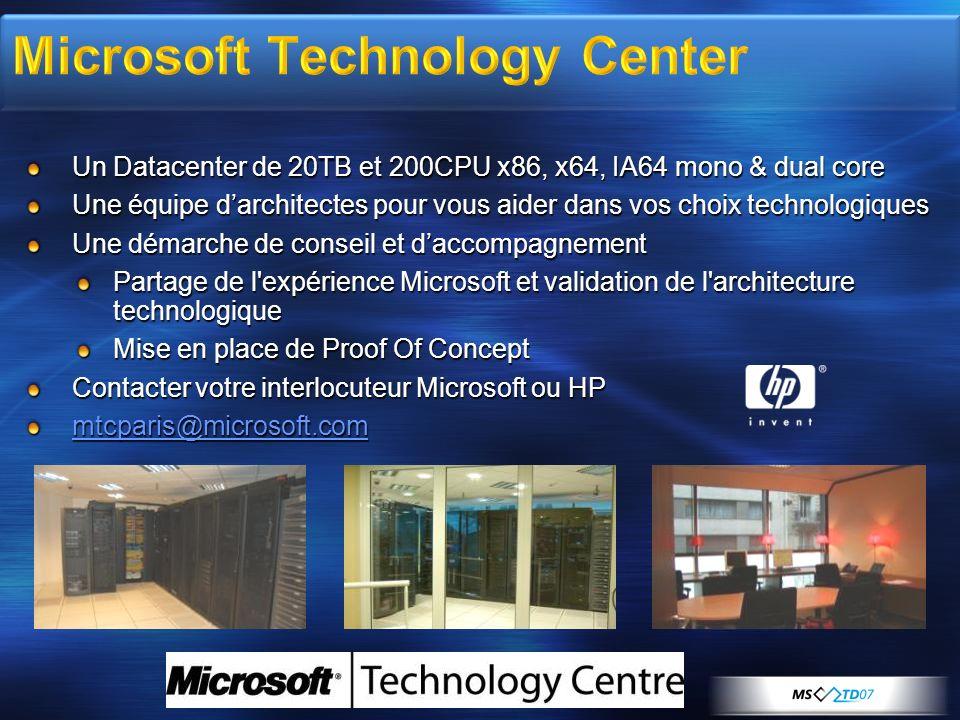 Un Datacenter de 20TB et 200CPU x86, x64, IA64 mono & dual core Une équipe darchitectes pour vous aider dans vos choix technologiques Une démarche de conseil et daccompagnement Partage de l expérience Microsoft et validation de l architecture technologique Mise en place de Proof Of Concept Contacter votre interlocuteur Microsoft ou HP mtcparis@microsoft.com