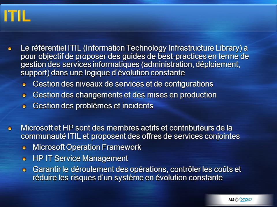 Le référentiel ITIL (Information Technology Infrastructure Library) a pour objectif de proposer des guides de best-practices en terme de gestion des services informatiques (administration, déploiement, support) dans une logique dévolution constante Gestion des niveaux de services et de configurations Gestion des changements et des mises en production Gestion des problèmes et incidents Microsoft et HP sont des membres actifs et contributeurs de la communauté ITIL et proposent des offres de services conjointes Microsoft Operation Framework HP IT Service Management Garantir le déroulement des opérations, contrôler les coûts et réduire les risques dun système en évolution constante