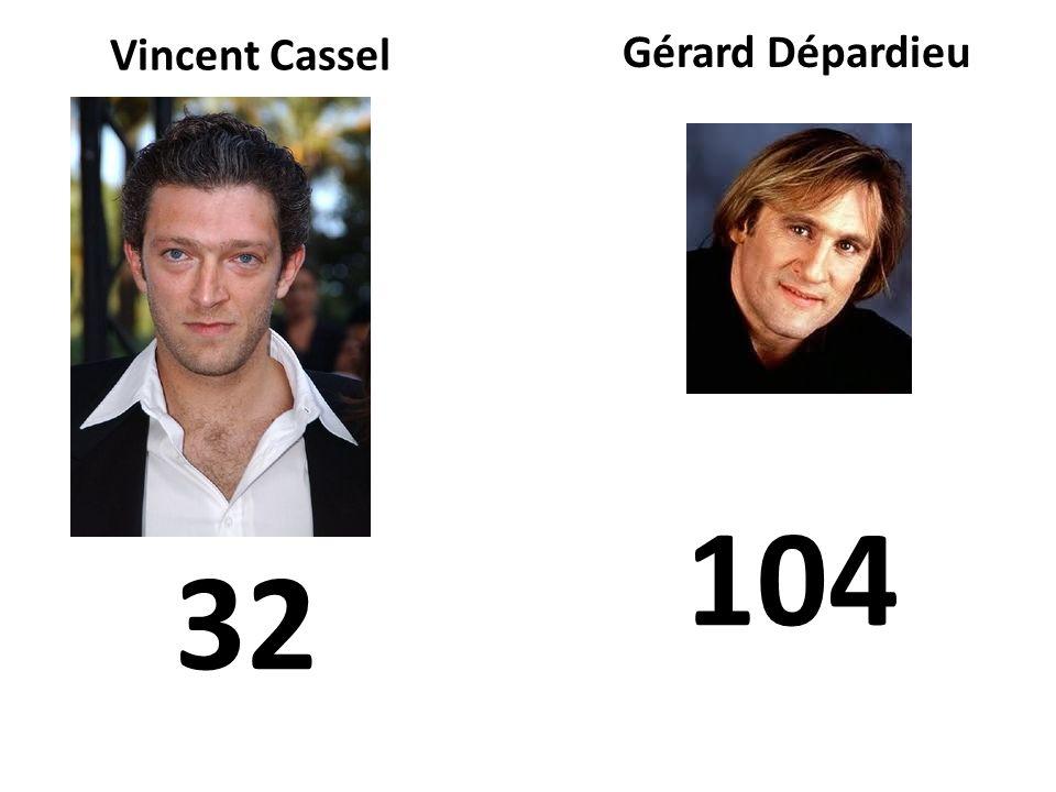 Vincent Cassel 104 Gérard Dépardieu 32