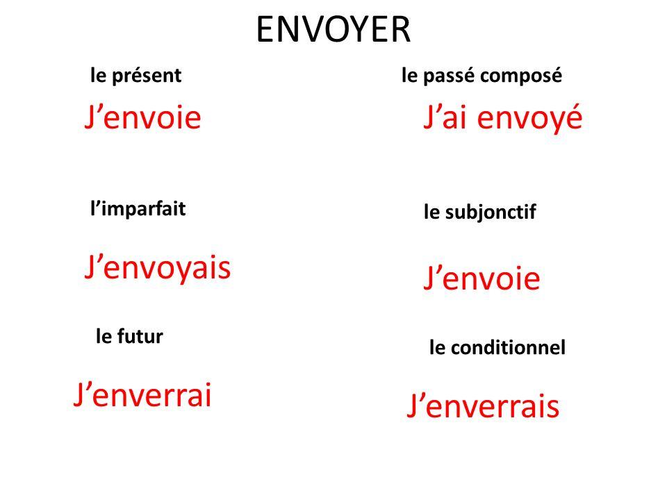 ENVOYER le présent Jenvoie le passé composé Jai envoyé limparfait le subjonctif le futur le conditionnel Jenverrais Jenvoie Jenvoyais Jenverrai