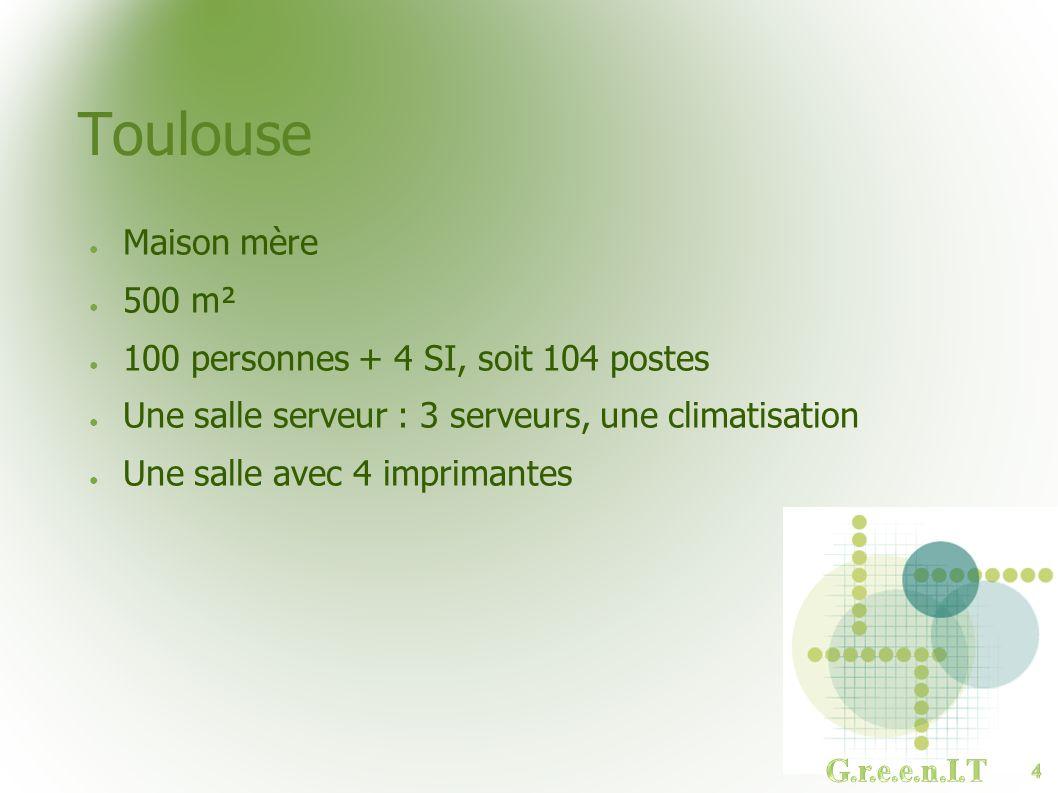 Toulouse Maison mère 500 m² 100 personnes + 4 SI, soit 104 postes Une salle serveur : 3 serveurs, une climatisation Une salle avec 4 imprimantes