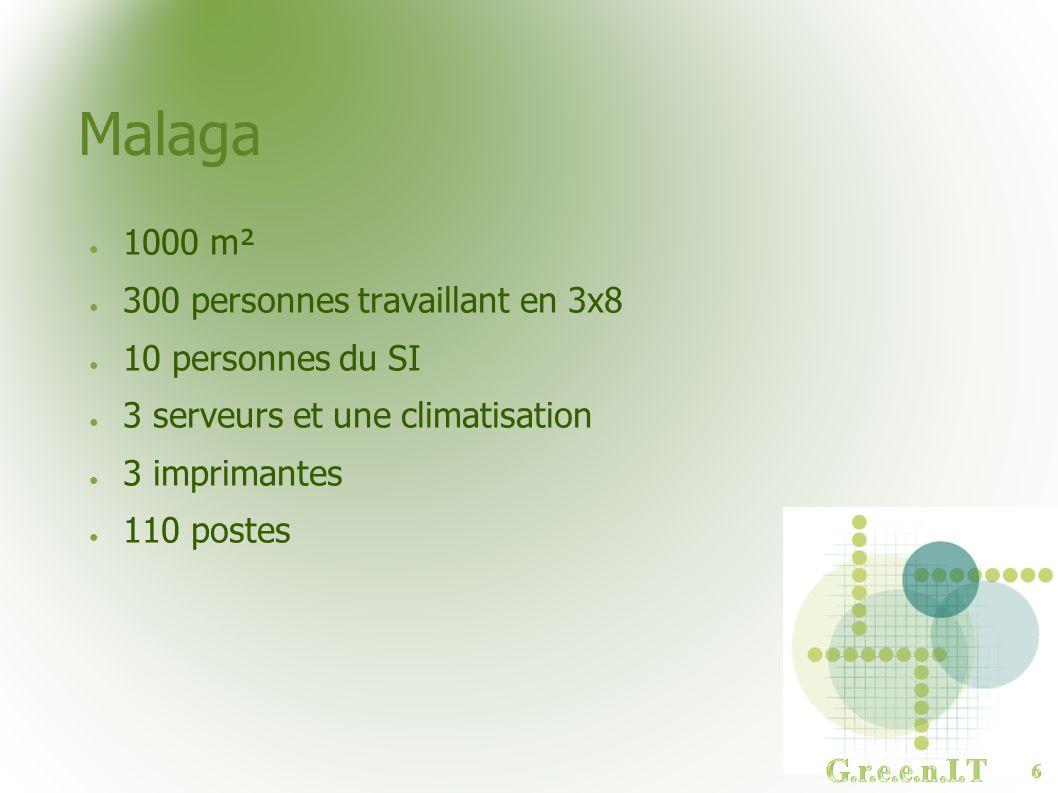 Malaga 1000 m² 300 personnes travaillant en 3x8 10 personnes du SI 3 serveurs et une climatisation 3 imprimantes 110 postes