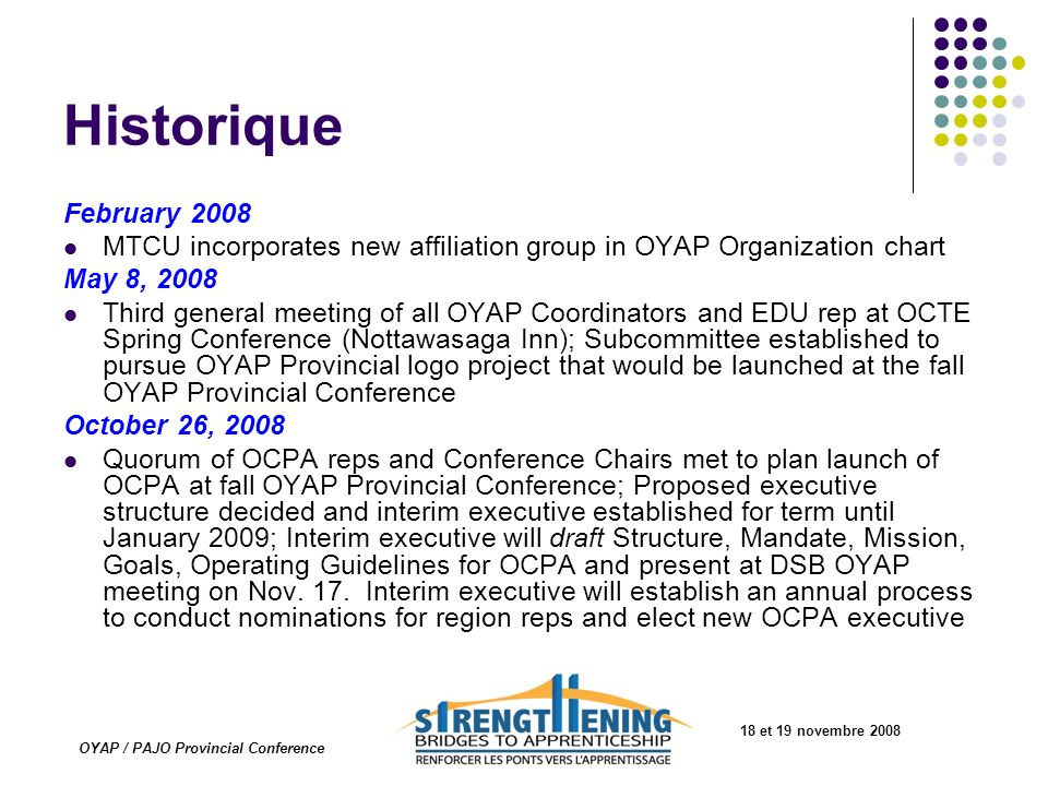 18 et 19 novembre 2008 OYAP / PAJO Provincial Conference Historique February 2008 MTCU incorporates new affiliation group in OYAP Organization chart M