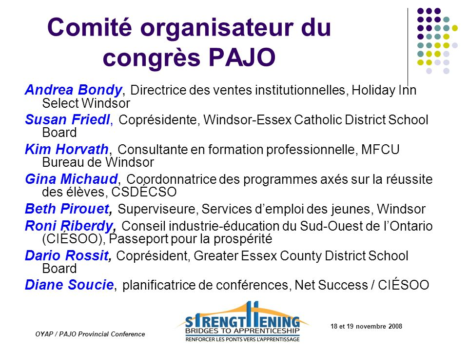 Ébauche Draft Governance 4.0STRUCTURE: TBA 4.1OCPA Membership: All OYAP Coordinators are invited to be a member of OCPA OYAP Coordinators will be invoiced for annual dues to help offset operating expenses, Directors expenses and Board approved project expenditures Suggested annual dues of 18 et 19 novembre 2008 OYAP / PAJO Provincial Conference