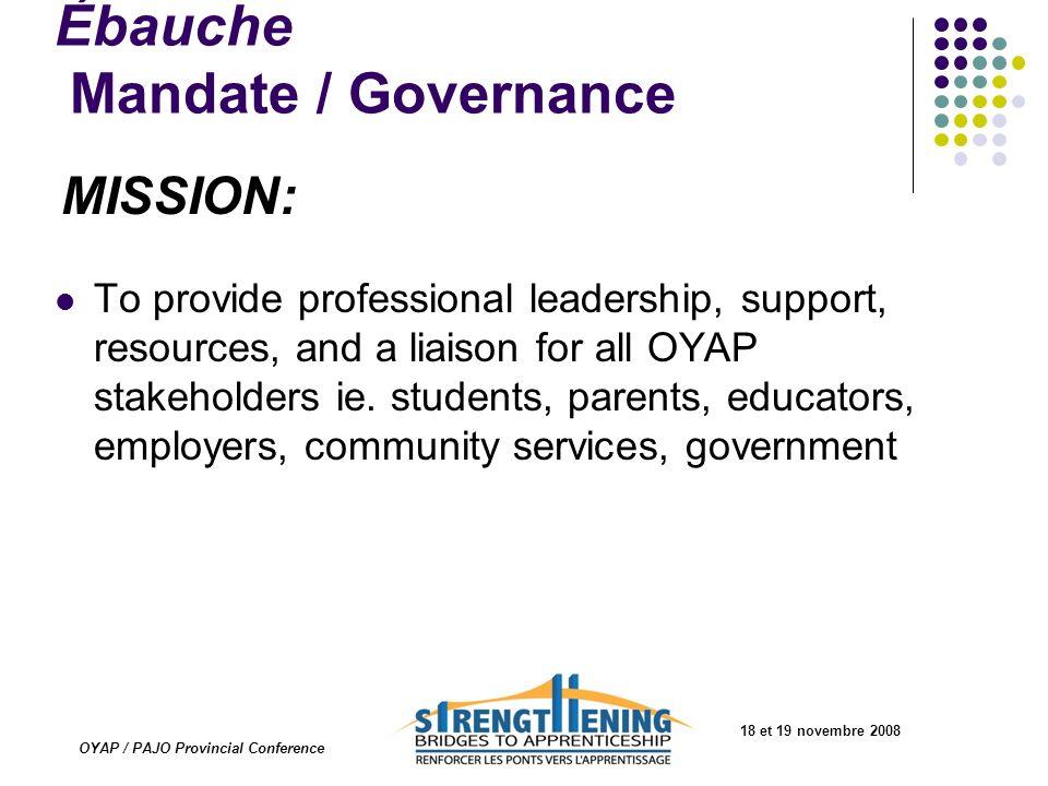 18 et 19 novembre 2008 OYAP / PAJO Provincial Conference Ébauche Mandate / Governance MISSION: To provide professional leadership, support, resources,