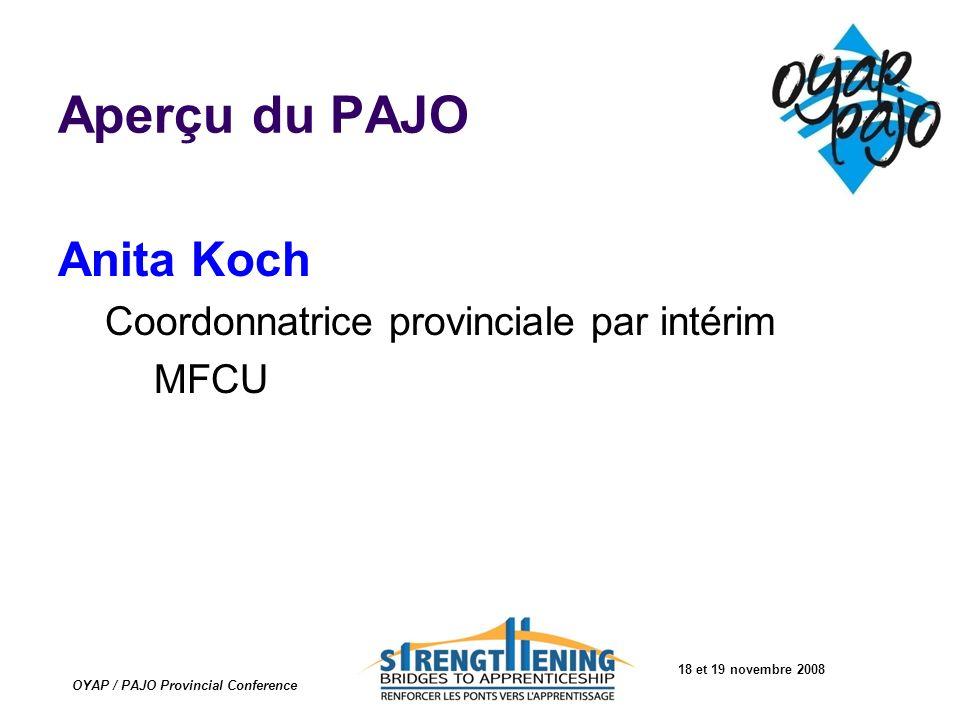 18 et 19 novembre 2008 OYAP / PAJO Provincial Conference Aperçu du PAJO Anita Koch Coordonnatrice provinciale par intérim MFCU