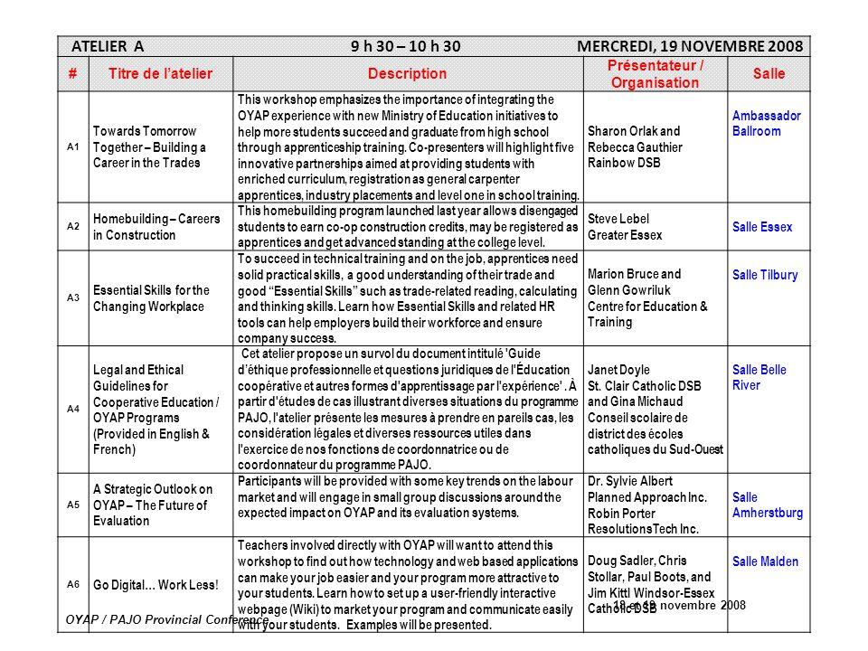 18 et 19 novembre 2008 OYAP / PAJO Provincial Conference ATELIER A 9 h 30 – 10 h 30 MERCREDI, 19 NOVEMBRE 2008 #Titre de latelierDescription Présentat