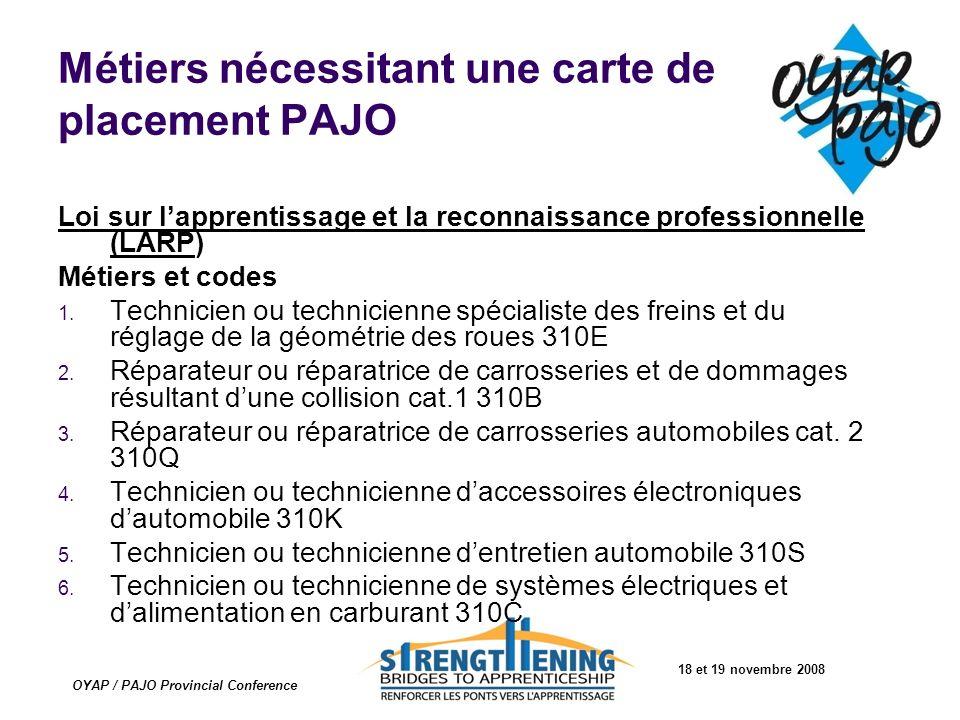 18 et 19 novembre 2008 OYAP / PAJO Provincial Conference Métiers nécessitant une carte de placement PAJO Loi sur lapprentissage et la reconnaissance p