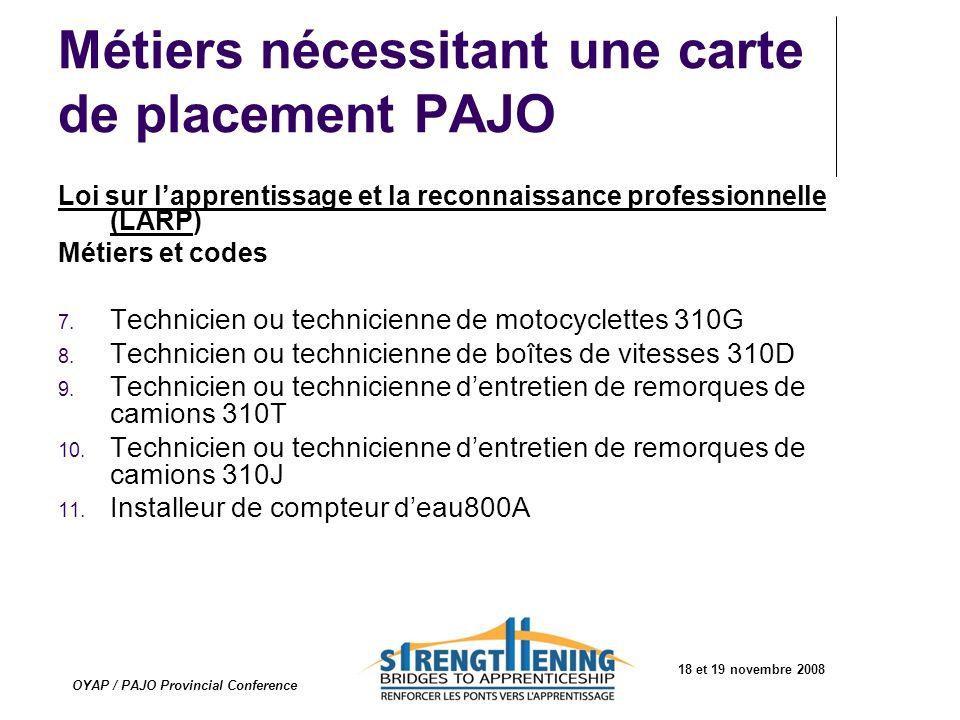 Métiers nécessitant une carte de placement PAJO Loi sur lapprentissage et la reconnaissance professionnelle (LARP) Métiers et codes 7. Technicien ou t