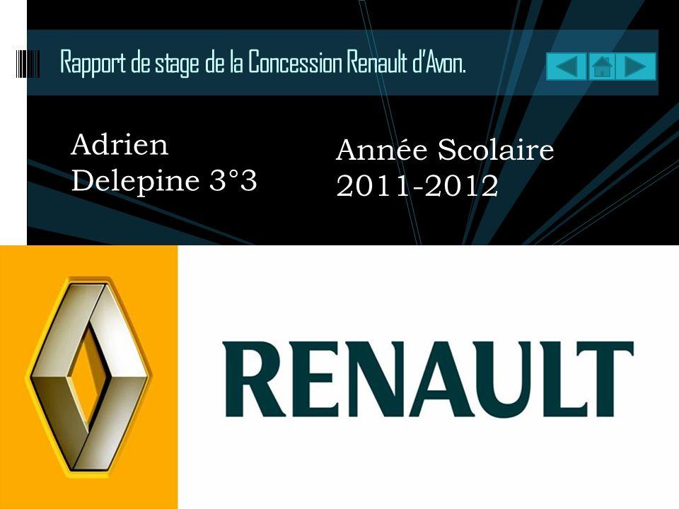 Rapport de stage de la Concession Renault dAvon. Adrien Delepine 3°3 Année Scolaire 2011-2012