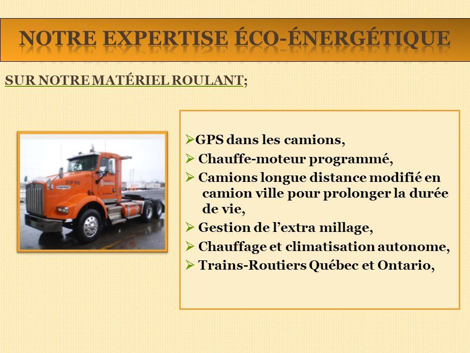 GPS dans les camions, Chauffe-moteur programmé, Camions longue distance modifié en camion ville pour prolonger la durée de vie, Gestion de lextra millage, Chauffage et climatisation autonome, Trains-Routiers Québec et Ontario, SUR NOTRE MATÉRIEL ROULANT;