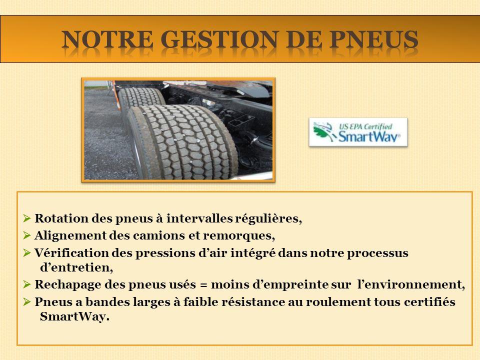Rotation des pneus à intervalles régulières, Alignement des camions et remorques, Vérification des pressions dair intégré dans notre processus dentret