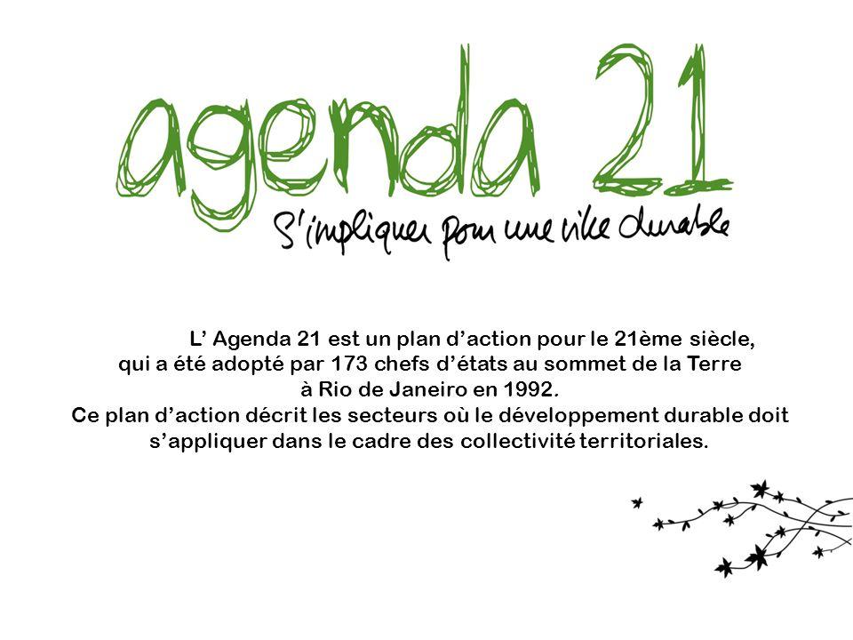L Agenda 21 est un plan daction pour le 21ème siècle, qui a été adopté par 173 chefs détats au sommet de la Terre à Rio de Janeiro en 1992. Ce plan da