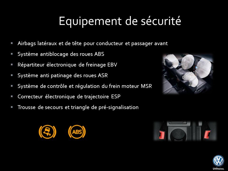 Airbags latéraux et de tête pour conducteur et passager avant Système antiblocage des roues ABS Répartiteur électronique de freinage EBV Système anti