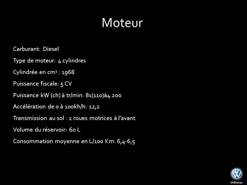 Carburant: Diesel Type de moteur: 4 cylindres Cylindrée en cm 3 : 1968 Puissance fiscale: 5 CV Puissance kW (ch) à tr/min: 81(110)à4.200 Accélération de 0 à 100kh/h: 12,2 Transmission au sol : 2 roues motrices à lavant Volume du réservoir: 60 L Consommation moyenne en L/100 Km: 6,4-6,5 Moteur