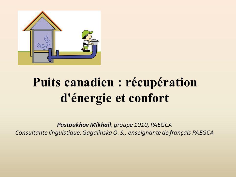 Puits canadien : récupération d'énergie et confort Pastoukhov Mikhail, groupe 1010, PAEGCA Consultante linguistique: Gagalinska O. S., enseignante de