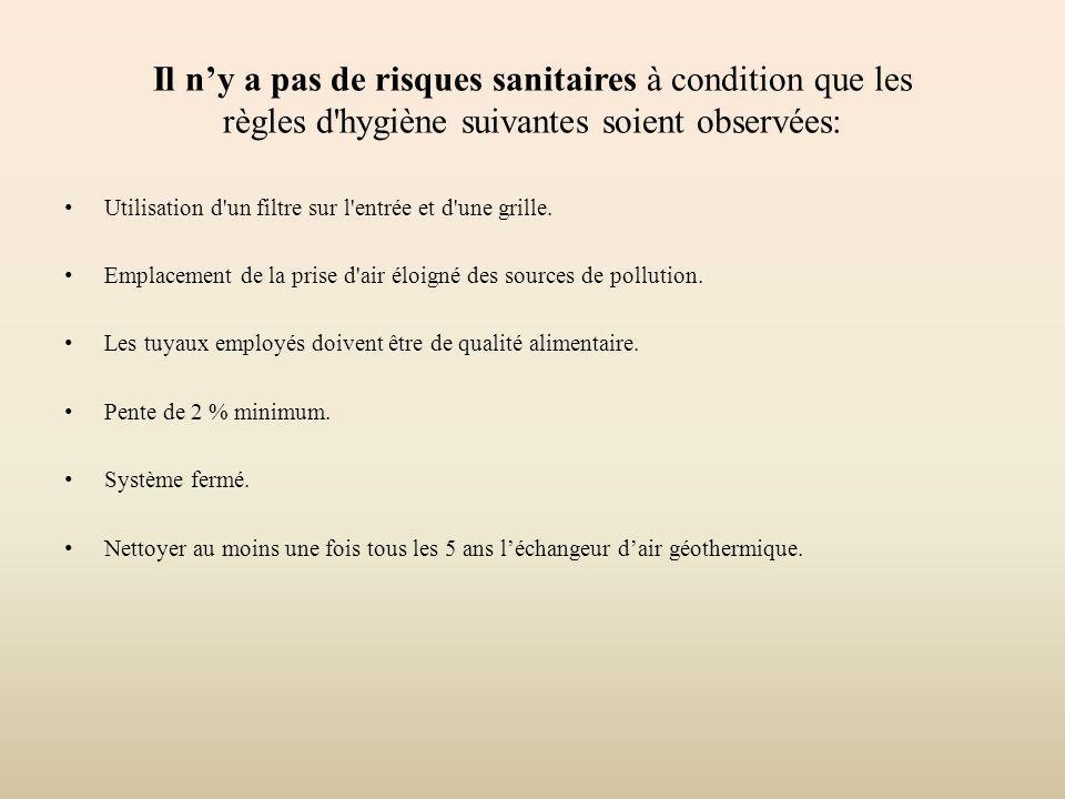 Il ny a pas de risques sanitaires à condition que les règles d'hygiène suivantes soient observées: Utilisation d'un filtre sur l'entrée et d'une grill