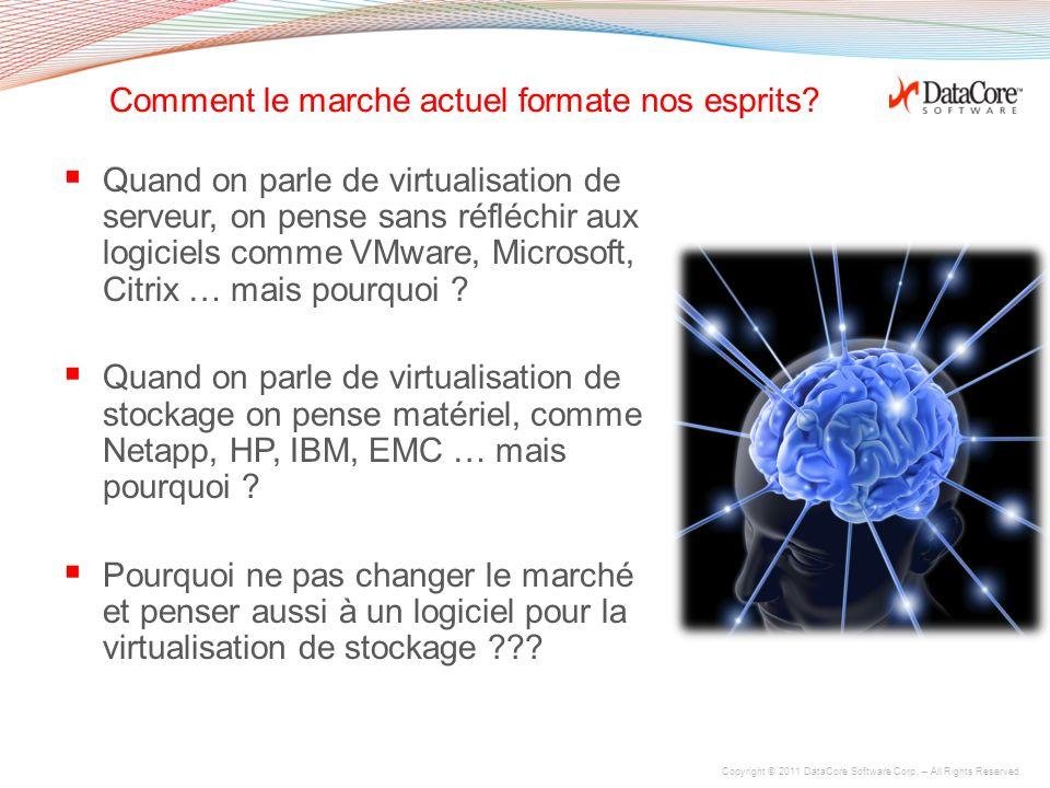 Copyright © 2011 DataCore Software Corp. – All Rights Reserved. La virtualisation de PCs accentue les problèmes de stockage La virtualisation du stock
