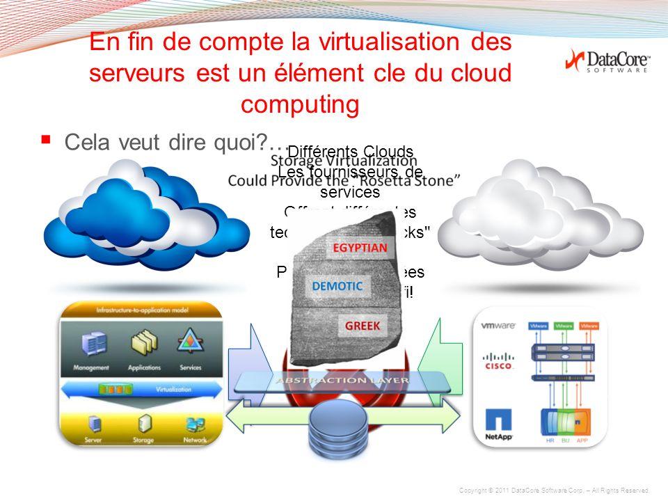Copyright © 2011 DataCore Software Corp. – All Rights Reserved. Virtual Volumes sont faciles à créer, partaer avec les VMs, miroirs et migration… VIRT
