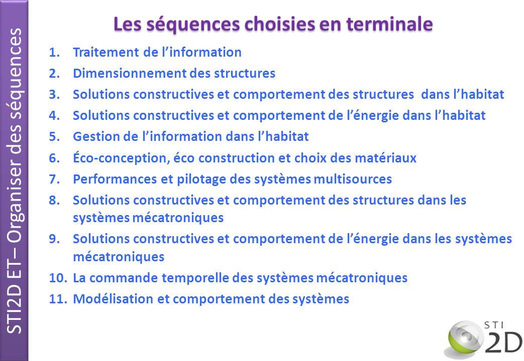 1.Traitement de linformation 2.Dimensionnement des structures 3.Solutions constructives et comportement des structures dans lhabitat 4.Solutions const