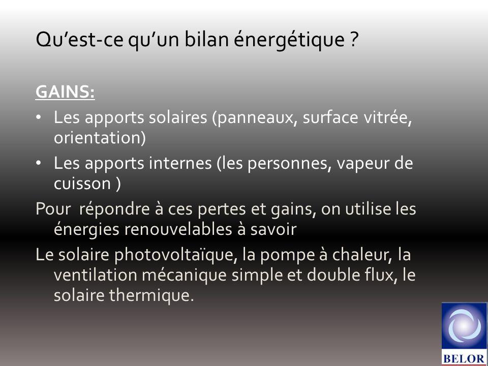 Quest-ce quun bilan énergétique ? GAINS: Les apports solaires (panneaux, surface vitrée, orientation) Les apports internes (les personnes, vapeur de c