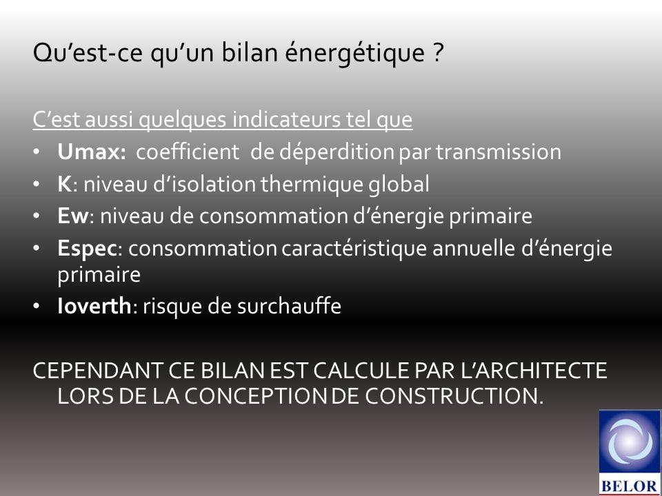Quest-ce quun bilan énergétique ? Cest aussi quelques indicateurs tel que Umax: coefficient de déperdition par transmission K: niveau disolation therm