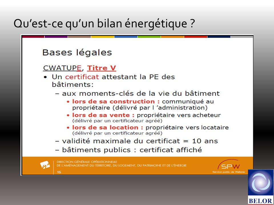 Quest-ce quun bilan énergétique ?