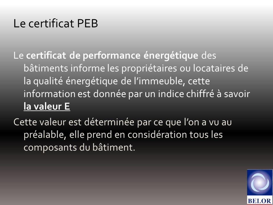 Le certificat PEB Le certificat de performance énergétique des bâtiments informe les propriétaires ou locataires de la qualité énergétique de limmeuble, cette information est donnée par un indice chiffré à savoir la valeur E Cette valeur est déterminée par ce que lon a vu au préalable, elle prend en considération tous les composants du bâtiment.