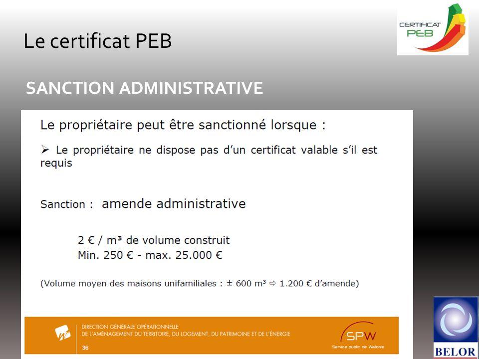 Le certificat PEB SANCTION ADMINISTRATIVE