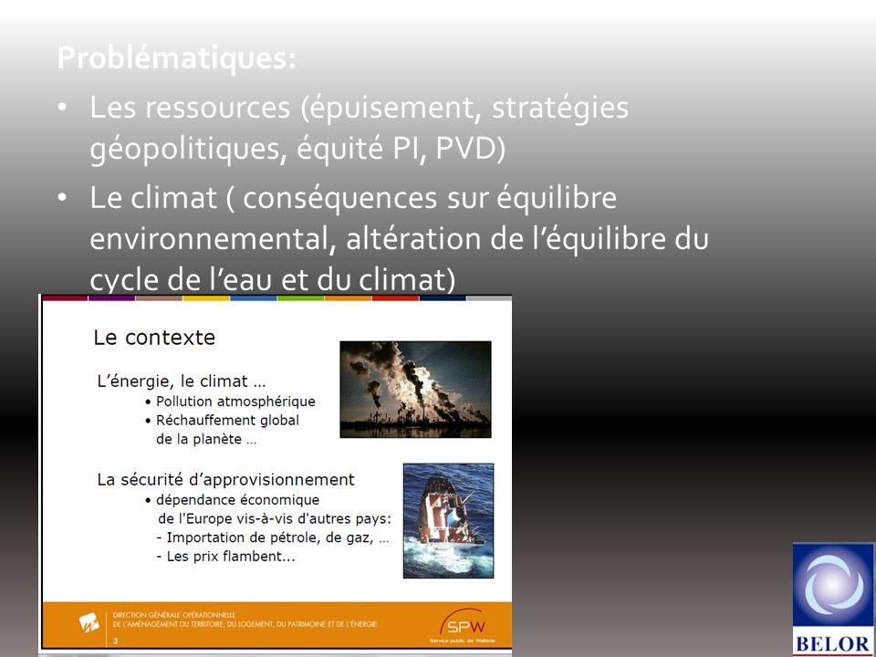 Problématiques: Les ressources (épuisement, stratégies géopolitiques, équité PI, PVD) Le climat ( conséquences sur équilibre environnemental, altérati