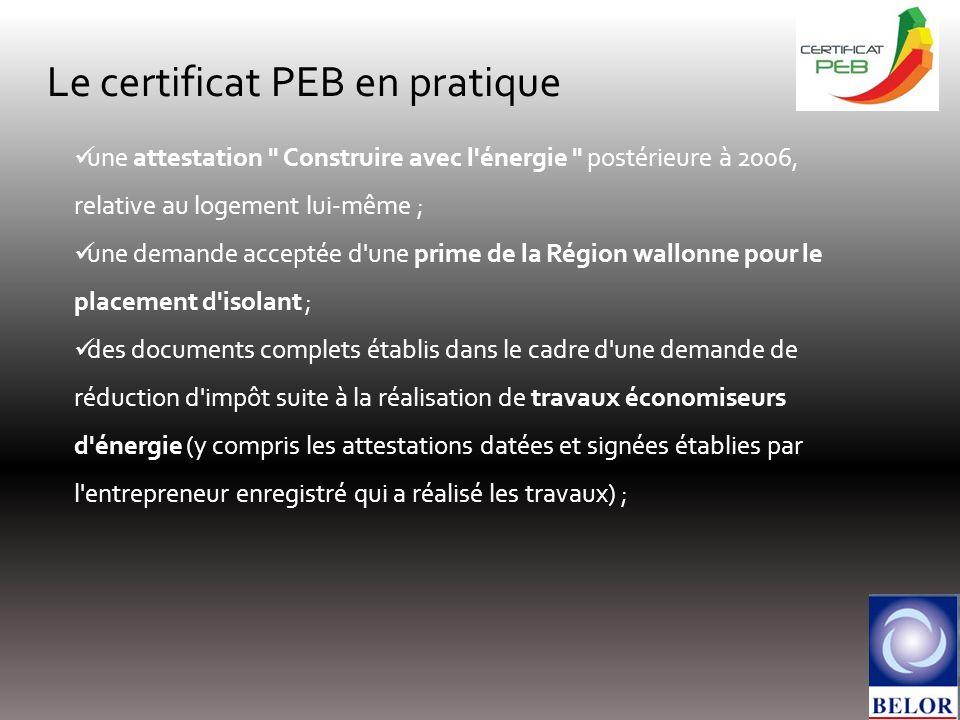 Le certificat PEB en pratique une attestation