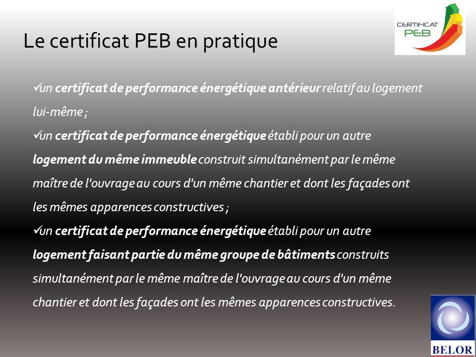 Le certificat PEB en pratique un certificat de performance énergétique antérieur relatif au logement lui-même ; un certificat de performance énergétiq