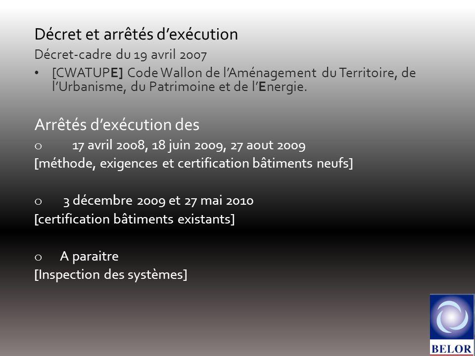 Décret et arrêtés dexécution Décret-cadre du 19 avril 2007 [CWATUPE] Code Wallon de lAménagement du Territoire, de lUrbanisme, du Patrimoine et de lEn