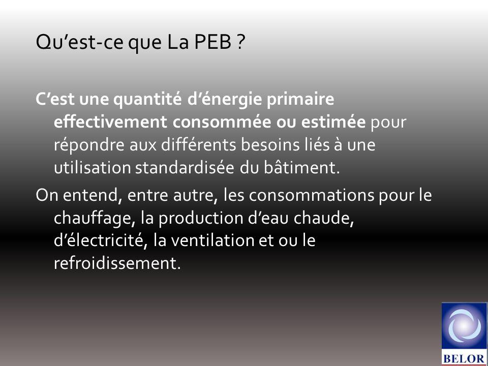 Quest-ce que La PEB ? Cest une quantité dénergie primaire effectivement consommée ou estimée pour répondre aux différents besoins liés à une utilisati