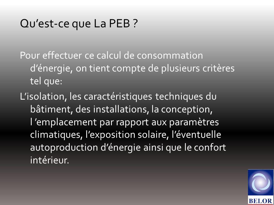 Quest-ce que La PEB ? Pour effectuer ce calcul de consommation dénergie, on tient compte de plusieurs critères tel que: Lisolation, les caractéristiqu
