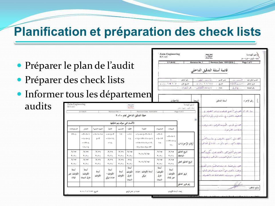 Planification et préparation des check lists Préparer le plan de laudit Préparer des check lists Informer tous les départements de la date et du plan de audits