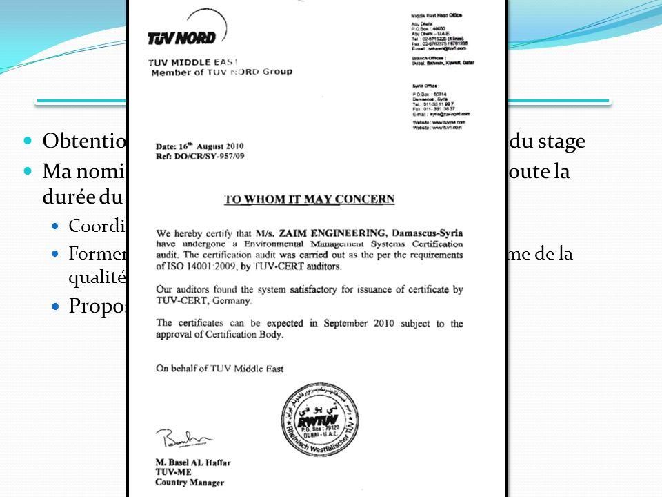 Conclusions Obtention des norme ISO 14001 et ISO 9001 à la fin du stage Ma nomination comme directeur Qualité pendant toute la durée du stage Coordination de la normalisation par TUV Nord Former les employes sur les procédures et sur la système de la qualité Proposition du poste de directeur Qualité