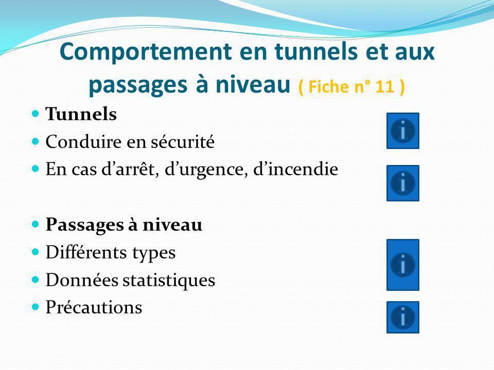 Comportement en tunnels et aux passages à niveau ( Fiche n° 11 ) Tunnels Conduire en sécurité En cas darrêt, durgence, dincendie Passages à niveau Dif