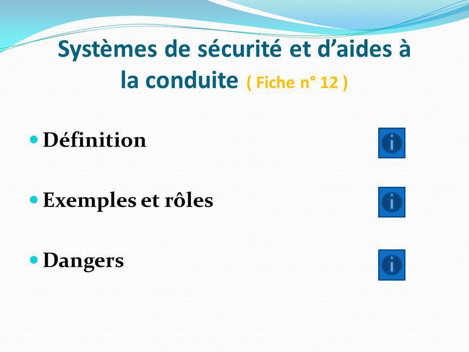Systèmes de sécurité et daides à la conduite ( Fiche n° 12 ) Définition Exemples et rôles Dangers